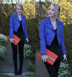 Matilda Mäkinen - H&M Biker, Modström Top, H&M Clutch, Duffy High - BLUE + ORANGE