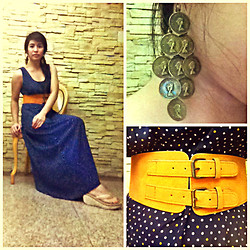 Al Jane Chua - Vintage Polka Dots Dress, Boutique Coins Earrings, Vintage Brown Belt - Their is always the first time..