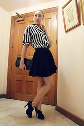 Trina Marie Ledesma - Meg Stripes Top, Venus Black Shoes, Black Skirt, Black Purse - Stand Out in Black and White
