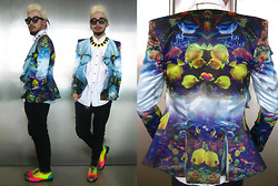Andre Judd - Anj Calvo Aquatic Print Blazer, G Star Button Down Shirt With Mirrored Collar, Fluoro Shoes, Multi Stone In Gold Neckpiece - THE LIFE AQUATIC