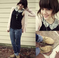 Sam W. - Forever 21 Pink Cardigan, Diy Black Lace Collared Shirt, Diy Necklace, Forever 21 Jeans, Payless Booties - Meet Me Halfway