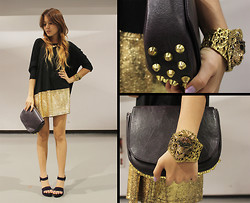 Cheyser Pedregosa - Romwe Black & Gold Dress, Sm Studded Bag, Mia Casa Lion Cuff, Boohoo Shoes, Mauve Gold Necklace - Studs & Glitters