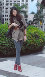 Jessie Kim - Jhajing Manila Brown Leather Belt, Mango Black Jeans, Intercrew Brown Leather Bangle Watch - Brown Chic