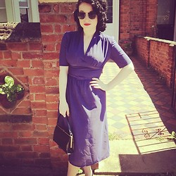 Demi Lauren Abbott - Vintage Purple Dress, Vintage Black Handbag - Ladylike