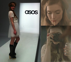 Sarah Louise - Asos Lace Dress, Asos Espadrille Heel, Pretty Polly Polka Dot Pop Socks, Asos Bow Ring, Asos Flower Mini Boater Hat, Asos Cameo - Behind the Scenes..
