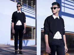 Billy Hazel - Diy Black Sweater, H&M Metallic Necklace, Givenchy Metallic Shoes - Black White and Metal