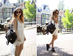 Anouska Proetta Brandon - In Love With Fashion Dress, Bag, Oasap Creepers, Urban Outfitters Sunnies - Little White.