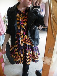 Beverley Bowen - Ebay Leather Jacket, Tkmaxx Dress, H&M Leggings - Multicolour dress