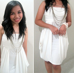 Marinella Rose - White Dress, Pearl Bracelet, Metallic Necklace - Simplicity is Beauty
