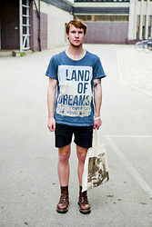 Martin Bohm - Dr. Martens Docs, Håkan Hellström Bag, Cheap Monday Shorts, Reunion T Shirt - LAND OF DREAMS