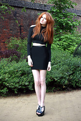 Olivia Emily - Minkpink Open Shoulder Top, Topshop Pencil Skirt (Rolled Up), Foxy Spike Heels - Addicted to Love.