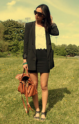 Miu N - Prada Sunglases, Monki Lace Top, H&M Blazer, Mulberry Bag, Weekday Skirt, Belle Shoes Sandals - I'm going where the sun keep shining