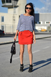 Nancy A. -  - Red skirt & stripes