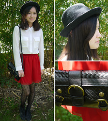 Anne - H&M Hat, Chiffon Shirt, Chiffon Skirt, Mango Vintage Bag, My Mum's Patterned Tights, Leather Wedges - Chiffon on Chiffon