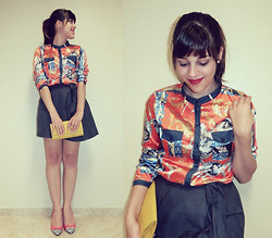 F Esther - Del Amo Indian Printed Shirt, Yellow Clutch, Schutz Stripes Captoe - Life flows on within you and without you..