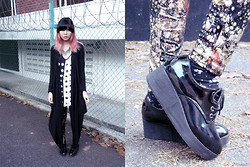 Lenne C. - Ksubi Polka Dot Tank Top, Cotton On Long Black Cardigan, Sugarlips Sparkly Leggings, N/A Black Flatforms - Like a shotgun needs an outcome