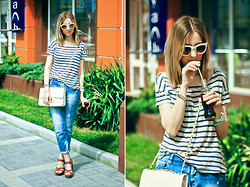 Katerina Revenko - Zara Jeans - Stripes + Denim