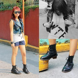Janille Rose Olegario - American Blvd Wtf Sleeveless, Me Cross Necklace, Dr. Martens Black Boots, Riot Denim Vest, Jewels Denim Short - WTF!