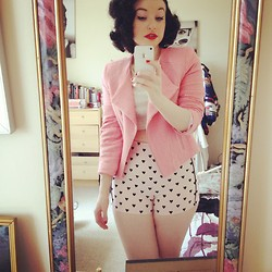 Demi Lauren Abbott - Topshop Pink Biker Jacket, Topshop High Waisted Heart Shorts, Topshop Grey Jersey Crop Top - Oh my heart