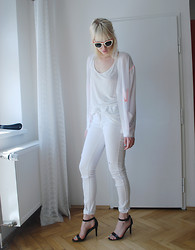 C V - Asos Sheer Jacket, Nelly Shoes, H&M Sunglasses, Old Tank, Old Jeans - All white