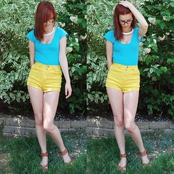 Rebecca K - Vintage Turquoise Jumpsuit, Forever 21 Yellow Shorts - Colour block