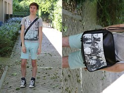 Gareth Vanderstraeten - Zara Los Angeles T Shirt, H&M Mint Green Shorts, Converse All Star, No Brand Jade Pearls, Ben Sherman Vespas Shoulder Bag - Vintage photographs