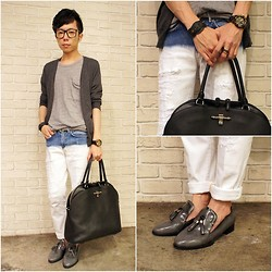 Curtis Yu - Dress Code Tee, Givenchy Bag, Balenciaga Bracelet, Dress Code Loafer Shoes, Zara Jeans, Bvlgari Rin, Uniqlo Cardigan - DIP DYE JEANS