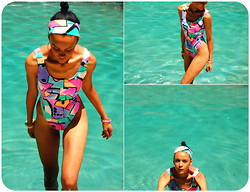 Luna Nova - Thrifted & Diy Swimwsuit, Diy Headband - Sometimes, you just gotta D.I.Y... swimsuit edition.
