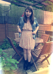 Alice Larke - Vintage Dress, River Island Denim Shirt, Dr. Martens Dr - 35mm,