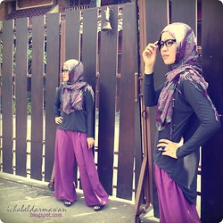 Ichabella Darmawan - Local Moslem Store Purple Leopardess, Diy (Tailored By My Mom!) Purple Cotton Wide Pants - HFW May Day #2: Style it, Purple Leopardess!
