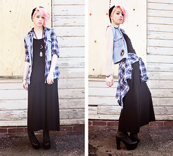 Kat W. - New Age Shop Crescent Necklace, Sheinside Tank Top Maxi Dress, Diy Denim Vest, Flannel, Jeffrey Campbell Stevies, Convenience Store Beanie, Borrowed Ganesha Necklace - Does anyone love the way they are?