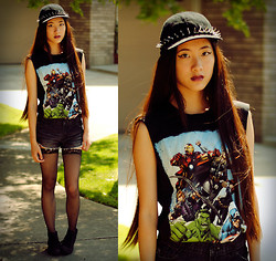 Jennifer Wang - Oasap Fishnet Stockings, Target Black Cap, Oasap Spiky Headband (Worn Around Cap), Hot Topic Avengers T Shirt, Love Black Cutoffs - MARVEL