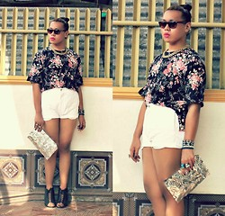 Miki Gumia - Kate Spade Floral Top, Levi's® White Shorts, Diy Chrome Clutch, Parisian Lace Up Wedges - Bouquet on my top