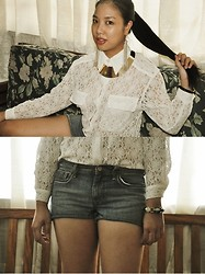 Diana De Belen - Thrift Store Lace Button Up, Old Navy Denim Shorts, Necklace, Tassel Earrings - METAL DETECTOR