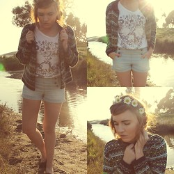 Nadia Deering - Thrifted Zig Zag Sweater, Forever 21 Faded Sailor Shorts., Urban Outfitters Collage Skull Tee, Diy Flower Headband, Goodwill Old Man Loafers. - You spoke in a thousand silent ways.