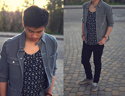 Kurtis Young - Pointer Jean Jacket, Obey Sleeveless, Cheap Monday Jeans, Vans Shoes - Facepaint