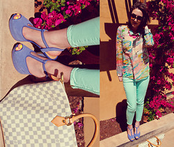 Paulina P. - Ray Ban Cat Eye Sunglasses, H&M Pastel Watercolor Blouse, J. Crew Mint Pants, Steve Madden Pastel Pumps, Louis Vuitton Handbag, Francesca's Pink Large Gem Necklace - Grand Illusion