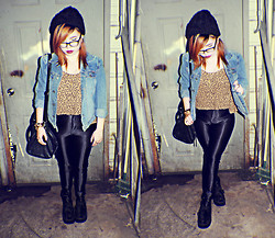 Patchie Valerio - Calvin Klein Denim Jacket, Old Navy Polka Tank, American Apparel Disco Pants, Zara Beanie, Vans Leather Bag, Demonia Creepers - OFF TO THE CITY TONIGHT