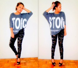 Star Agus - Thrift Store Blouse, Cristina Jeans Pants, Heels - Stoic