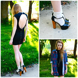 Megan Brigance - Taylor Dress, Heels, Thrifted Shirt - Cut out all the ropes and let me fall