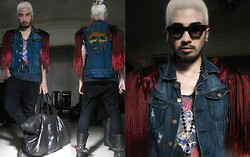 Andre Judd - Diy Denim Jacket With Fringe, Rose Print Tee, Angular Frames, Oversized Leather Bag - KYLIE MINOGUE - TIMEBOMB