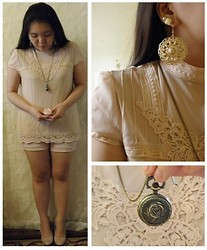 Lee.Sze ♥ - Zara Lace Top, New Look Earrings, Rose Pocket Watch - (◠‿◠)❤