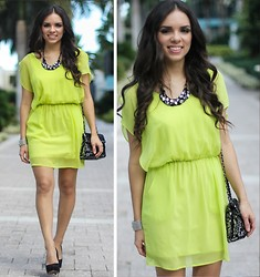 Daniela Ramirez - 2020ave Neon Dress, Mimi Boutique Sequin Bag, Steve Madden Shoes - NEON WEDDING!