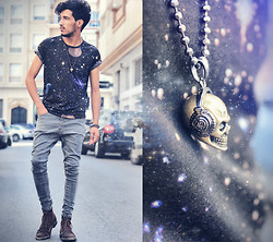 Mohcine Aoki - Fashops Universe Printed Tee, Fashops Unique Baggy Jean, Fashops Headphone Skull Necklaces - Love's Fashops