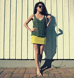 Daniela G. - Ray Ban 80s Vintage Yellow Tinted, Thrifted Crochet Olive Green Tank, H&M Neon Green - Greenery