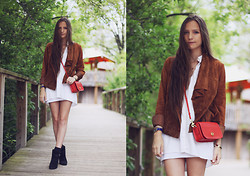 Bethany Struble - Suede Jacket, Coach Red Bag - Trails