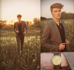 Zoltán Szilágyi - Vintage Watch, Military Blucher, H&M Blazer, Military Shirt, Self Made Bow, Zara Angora Cardigan, Leather Belt, H&M Skinny Jeans - Wish It Could Always Feel This Way