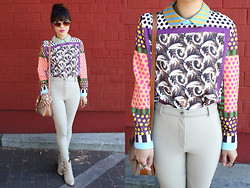 Toshiko S. - Lalamagic Retro Toy Shop Top, Fancy Treehouse Vintage High Waisted Riding Pants, Dooney & Bourke Thrifted Vintage Two Tone Leather Handbag, Gojane Studded And Buckled Booties, Ornate Framed Round Sunglasses - So Many Prints, So Little Time!