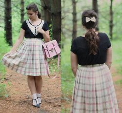 Lauren Pfieffer - Hair Bow, Black T Strap Heels, Plaid Circle Skirt, Pink Satchel, Black W/ Lace Shirt - Plaid Picnic.