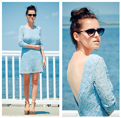 Veronica P - Dress, Bcbg Wedges - Baby blue lace dress